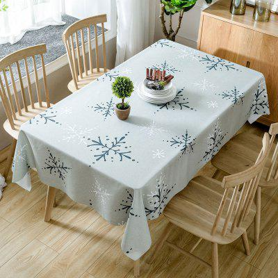 Christmas Snowflakes Print Waterproof Fabric Tablecloth