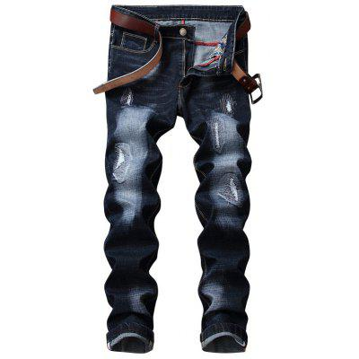 Zip Fly Straight Leg Destroyed Jeans