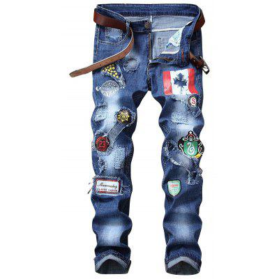 Flagge Graphic Print Gerade Distressed Jeans