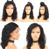 Fashion Medium Free Part Fluffy Water Wave Lace Front Synthetic Wig - NATURAL BLACK