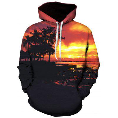 3D Sunset Print Pullover Hoodie