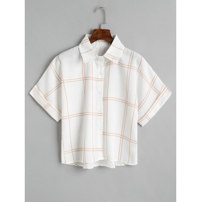 Checked Button Down Loose Shirt