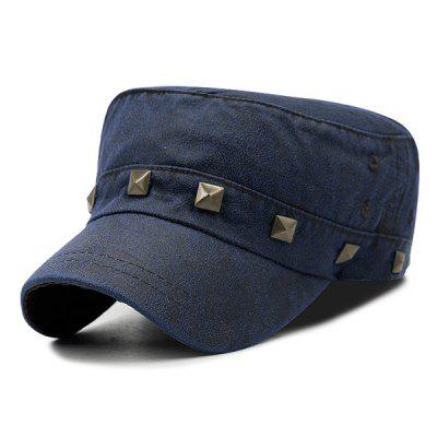 Outdoor Square Rivet Embellished Pigment Dyed Washed Military Hat