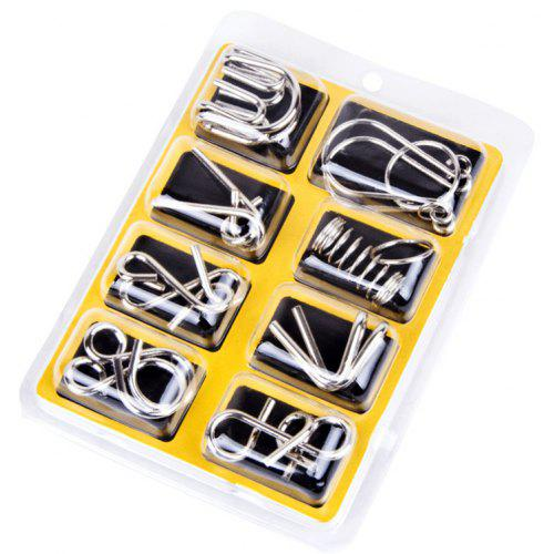 8Pcs/Sets Metal 9 Ring Puzzle Toys Intelligence Buckle