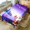Santa Claus Winter Night Scene Pattern Fabric Table Cloth - PURPLE