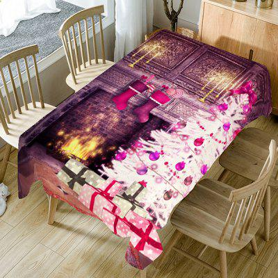 Christmas Fireplace Printed Home Ornament Fabric Table Cloth