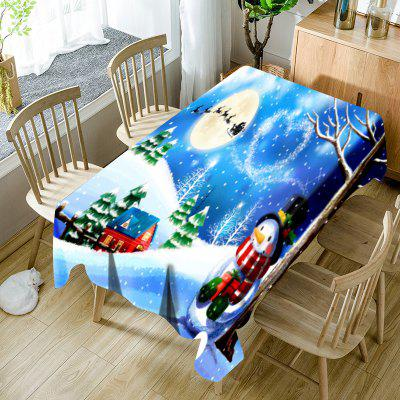 Christmas Snowscape Printed Waterproof Fabric Table Cloth