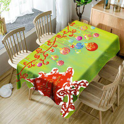 Merry Christmas Hanging Balls Print Waterproof Table Cloth