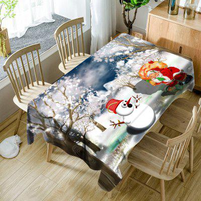 Santa Claus Snowman Christmas Snowscape Print Waterproof Table Cloth