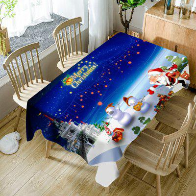 Cartoon Outdoor Christmas Party Print Waterproof Table Cloth