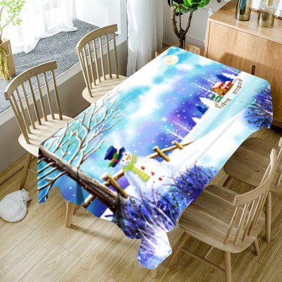 Christmas Snowscape Print Waterproof Fabric Table Cloth