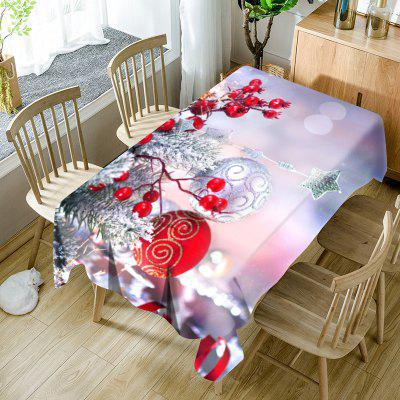 Christmas Balls Ornaments Print Waterproof Table Cloth