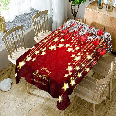 Christmas Ball and Star Print Waterproof Table Cloth
