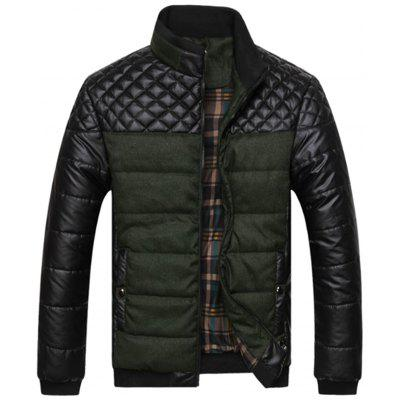 Stand Collar Checkered Leatherette Jacket
