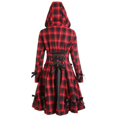Plaid Hooded Button Up Skirted Coat