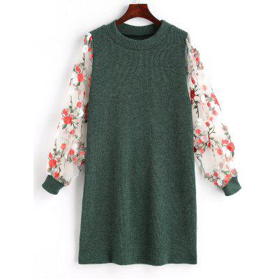 Mesh Panel Floral Mini Knit Dress