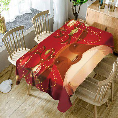 Novelty Christmas Deer Print Waterproof Table Cloth