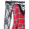 Sheer Plaid Fit and Flare Dress - RED WITH BLACK