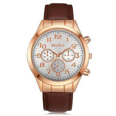Number Faux Leather Strap Watch