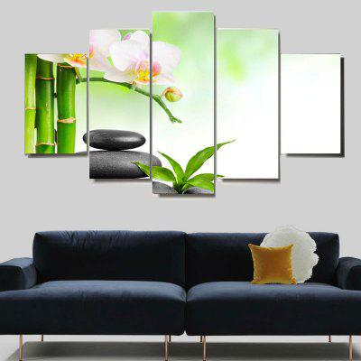 Bamboo Pool Landscape Print Pattern Unframed Canvas Paintings