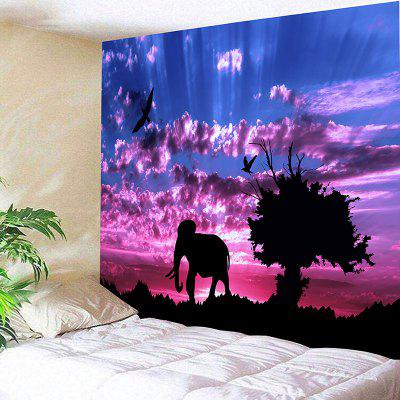 Paisagem Wall Hanging Elephant and Tree Print Tapestry
