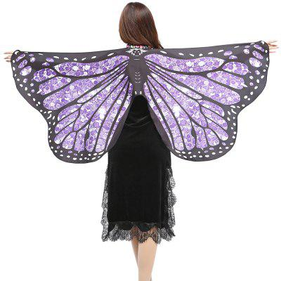 Vintage Butterfly Shape Embellished Silky  Long Scarf
