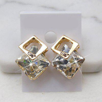 Faux Crystal Rhombus Stud Earrings