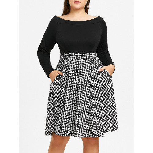 Plus Size Off The Shoulder Houndstooth Dress - $27.89 Free Shipping ...