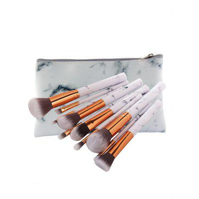 10Pcs Ultra Soft Synthetic Fiber Hair Makeup Brush Set with Bag