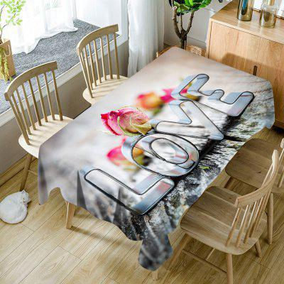 Dia dos Namorados Love Pattern Waterproof Table Cloth