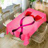 Valentine's Day Wine Glass Heart Print Waterproof Table Cloth - PINK