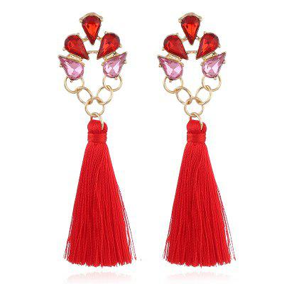 Bohemia Faux Crystal Loop Tassel Drop Earrings