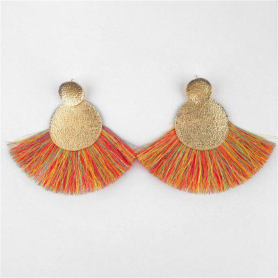 Hammered Disc Fringed Drop Earrings