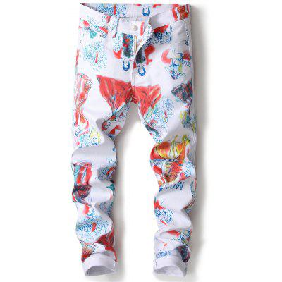 Zipper Fly Straight Leg Cartoon Painting Print Jeans