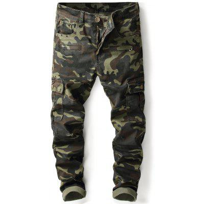 Zip Pockets Straight Leg Camouflage Cargo Pants