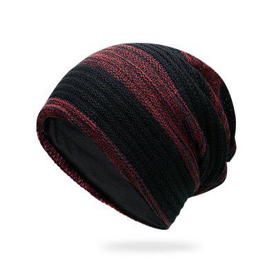 Outdoor Striped Pattern Color Splice Crochet Knitted Beanie