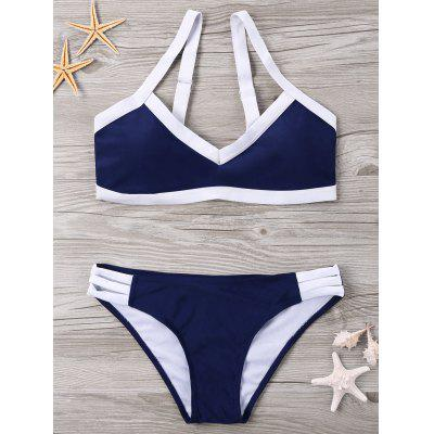 Contrast Trim Strappy Bikini Set