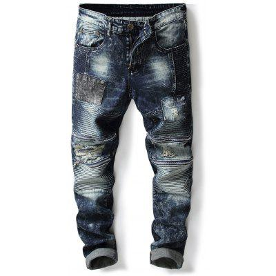 Zippers Accordion Pleat Patch Ripped Jeans