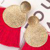 Hammered Disc Fringed Drop Earrings - RED