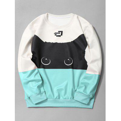 Crew Neck Cat Graphic Color Block Sweatshirt