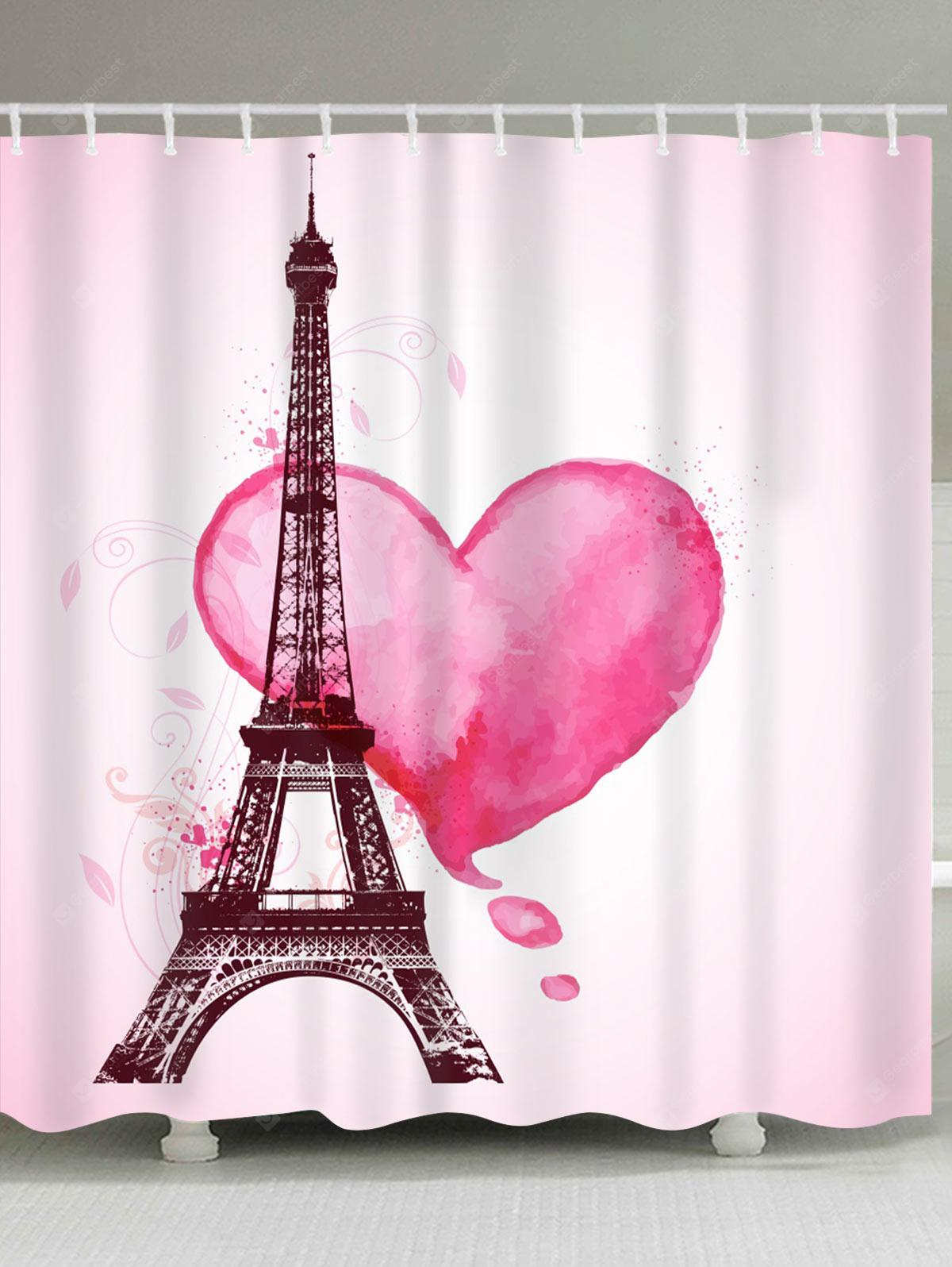Valentine S Day Eiffel Tower Heart Print Waterproof Fabric Shower Curtain