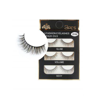 3 Pairs Handmade Natural Long Eyelashes Set