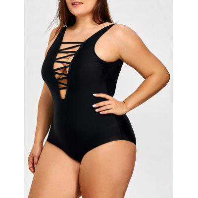 Lattice Front Plus Size One Piece Swimsuit
