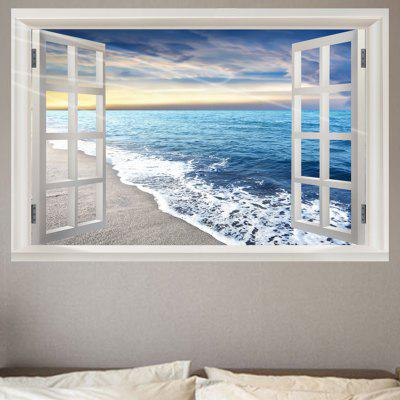 Sea Beach Waves Window View Removable Wall Sticker