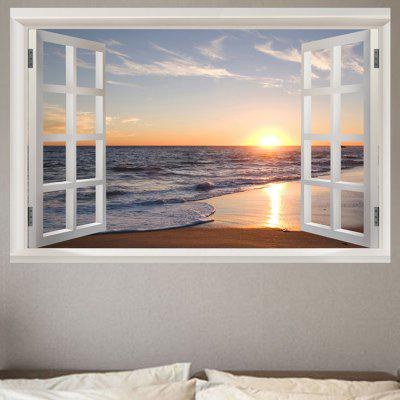 Seaside Sunset Window View Removable Wall Sticker