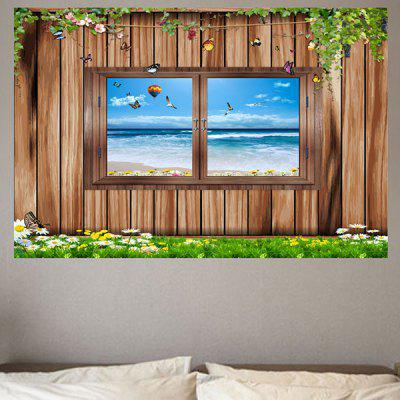 Wood Window Seascape Printed Removable Eco-friendly Wall Sticker