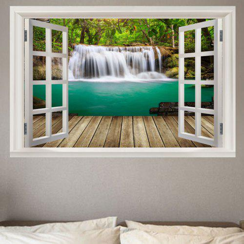 Nature Forest Waterfall Scenery Faux Window Frame Removable Wall Sticker