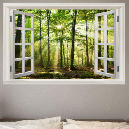 sunshine forest window view removable wall sticker - $5.14 free