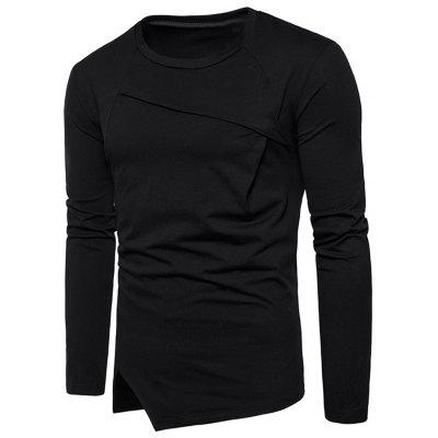 Long Sleeve Notched Hem Asymmetric Tee