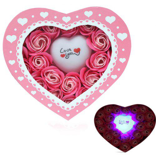 Led Flash Light Heart And Soap Roses In A Box Valentine S Day Gift